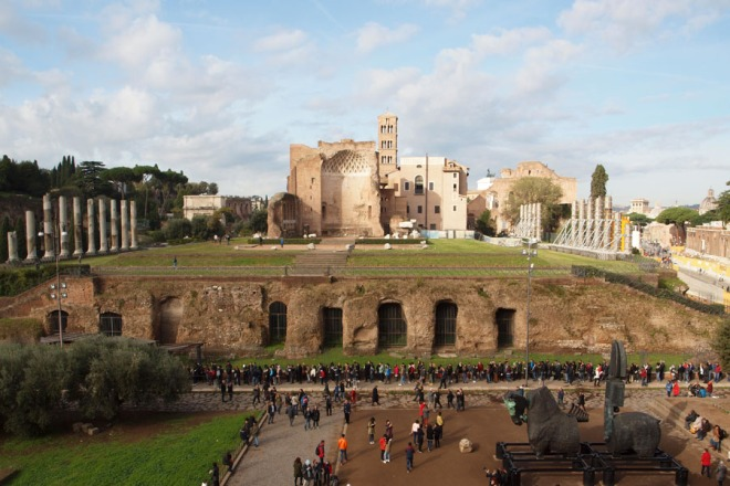 Temple of Venus and Rome from the colosseum.jpg