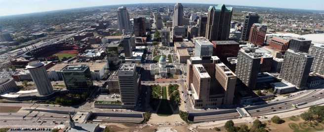 Downtown St. Louis from the Gateway Arch